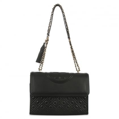 Tory Burch Fleming Black Leather Quilted Shoulder Bag
