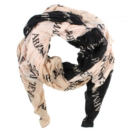 Armani Jeans Tricolour Beige Light Weight Logo Scarf
