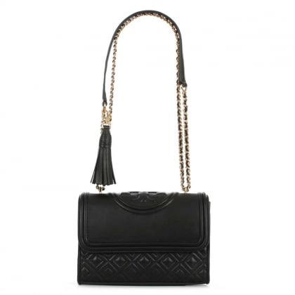 Tory Burch Small Fleming Black Leather Flapover Shoulder Bag