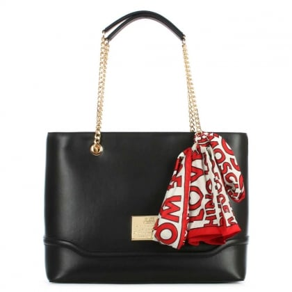 Love Moschino Top Zip Black Logo Scarf Shopper Bag