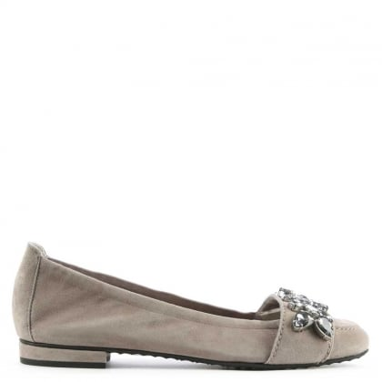 Kennel & Schmenger Glam Grey Suede Jewelled Embellished Pump