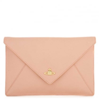 Vivienne Westwood Envelope Pink Leather Pouch Clutch