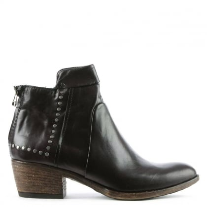 Mjus Bellah Black Leather Studded Ankle Boot