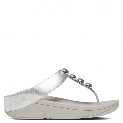 FitFlop Rola Silver Leather Toe Post Sandal