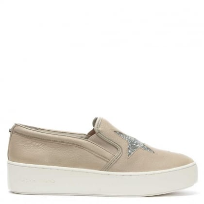 Michael Kors Pia Star Cement Leather Slip On Trainer