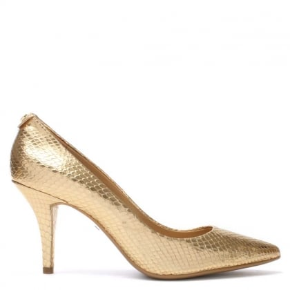 Michael Kors Flex Mid Gold Reptile Leather Pump