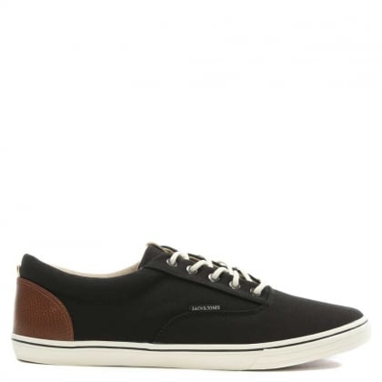 Jack & Jones Vision Mix Black Canvas Lace Up Trainer