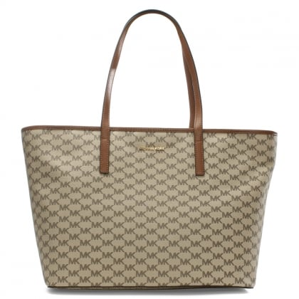 Michael Kors Emry Natural Luggage Coated Canavas Top Zip Tote Bag