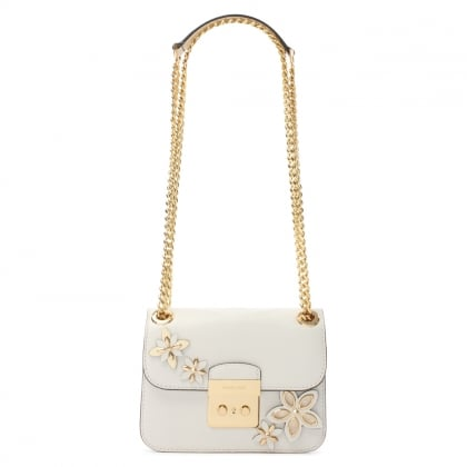 Michael Kors Flowers Sloan Optic White Leather Shoulder Bag