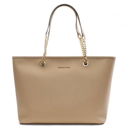 Michael Kors Jet Set Travel Oyster Leather Multifunctional Top Zip Tote Bag