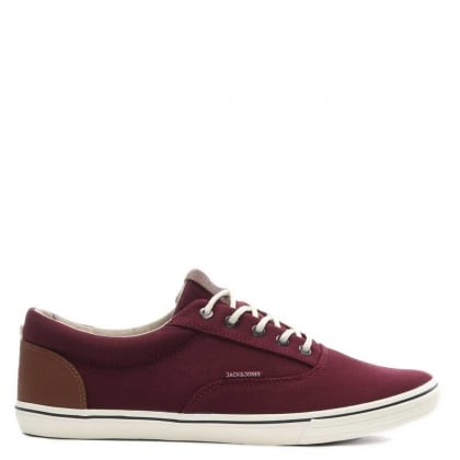 Jack & Jones Vision Mix Burgundy Canvas Lace Up Trainer