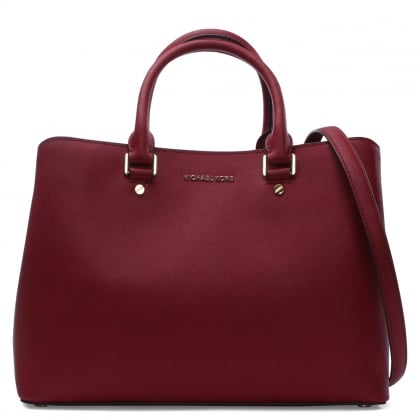Michael Kors Savannah Large Saffiano Cherry Leather Satchel Bag