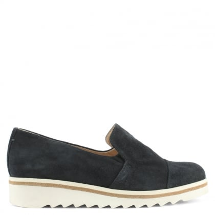 Daniel Georgetown Navy Leather Low Wedge Loafer