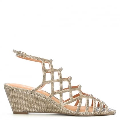 Daniel Geranium Gold Metallic Low Wedge Cage Sandal