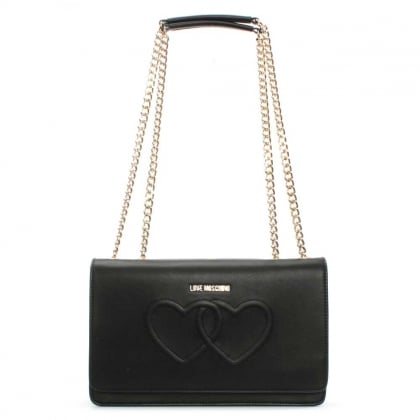 Love Moschino Lumpur Black Heart Embossed Shoulder Bag