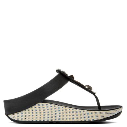 FitFlop Jeweley Toe Black Leather Flip Flop