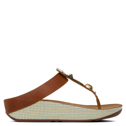 FitFlop Jeweley Toe Tan Leather Flip Flop
