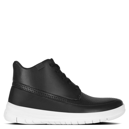 FitFlop Black Leather Sporty High Top Trainer