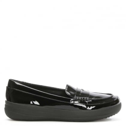FitFlop Sporty Black Patent Leather Penny Loafer