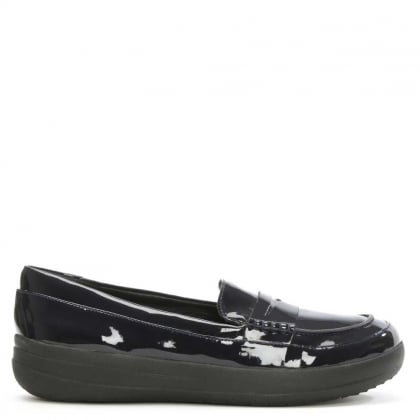 FitFlop Sporty Navy Patent Leather Penny Loafer