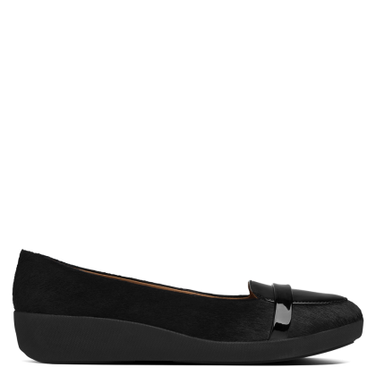 FitFlop Pop Black Calf Hair Loafer