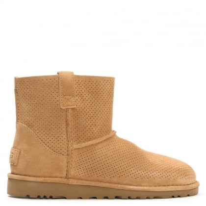 UGG Classic Tawny Suede Unlined Perforated Mini Ankle Boot