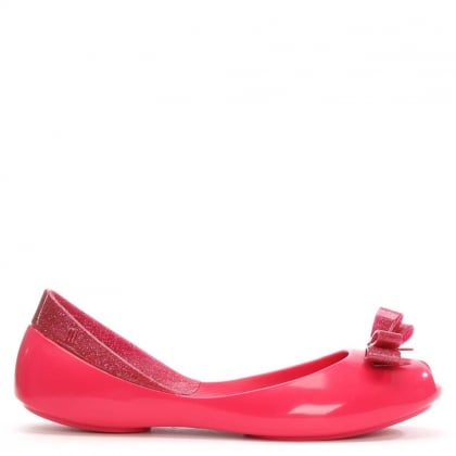 Melissa Kid's Queen Fuschia Glitter Bow Ballet Pump