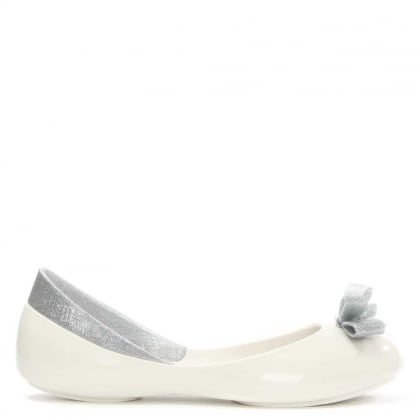 Melissa Kid's Queen White Glitter Bow Ballet Pump