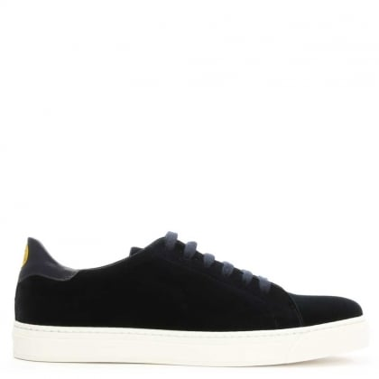Anya Hindmarch Wink Navy Velvet Lace Up Tennis Trainer