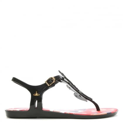Vivienne Westwood Solar Dove Black & Red Rubber T Bar Sandal