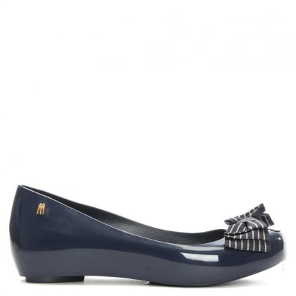 Melissa Ultragirl Navy Ribbon Striped Bow Ballerina Flat