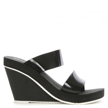 Melissa Summer High Black Rubber Wedge Sandal