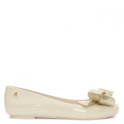 Melissa Space Love Glitter Ribbon Gold Ballerina Flat
