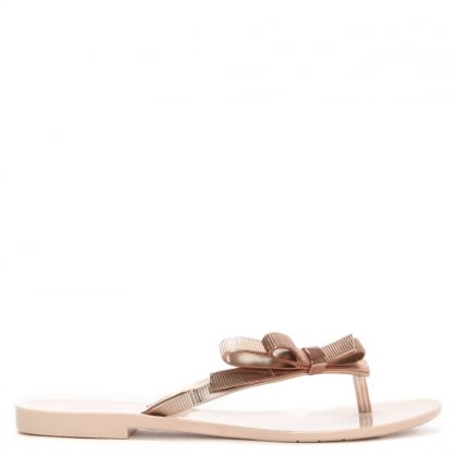Melissa Harmonic Chrome Bow Blush Rose Rubber Toe Post Flip Flop