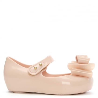 Melissa Kid's Mini Ultragirl Blush Rubber Triple Bow Ballerina Flat
