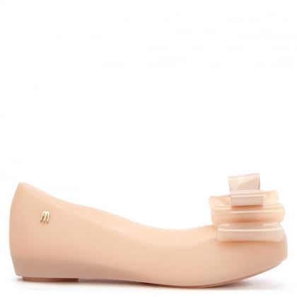 Melissa Kid's Ultragirl Blush Rubber Triple Bow Ballerina Flat