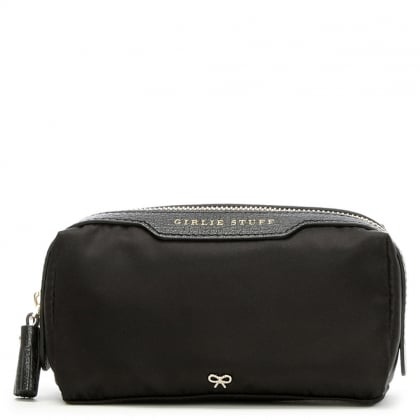 Anya Hindmarch Girlie Stuff Black Leather Trim Pouch