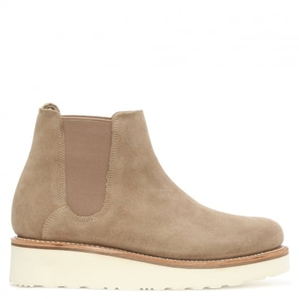 Grenson Lydia Beige Suede Low Wedge Chelsea Boot