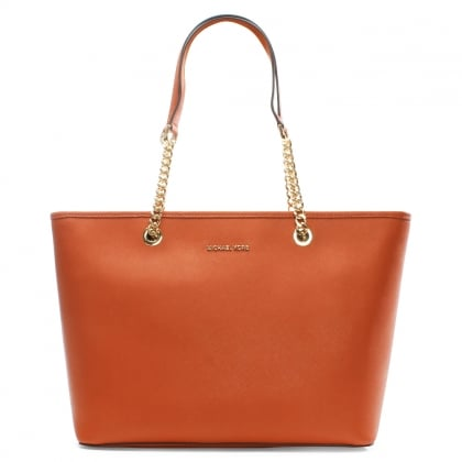 Michael Kors Jet Set Travel Orange Leather Multifunctional Top Zip Tote Bag