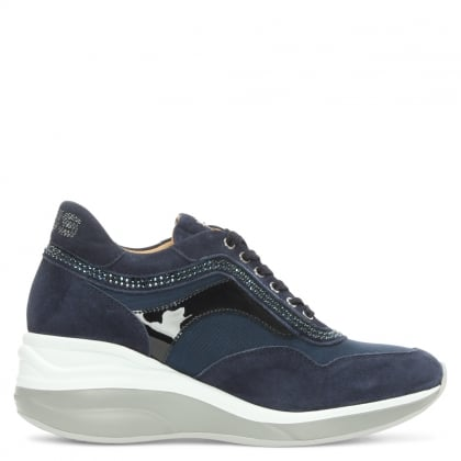 Cesare Paciotti Navy Suede Lace Up Wedge Trainer