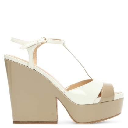 Sergio Rossi Edwige 75 Beige & White Patent Leather Platform Sandal