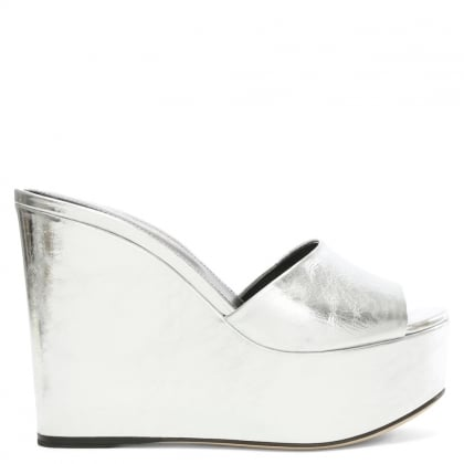 Sergio Rossi Lakeesha Silver Leather Wedge Mule