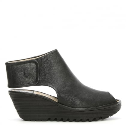 Fly London Yone Black Leather Backless Wedge Sandal