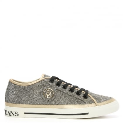 Armani Jeans Gold Metallic Low Top Trainer