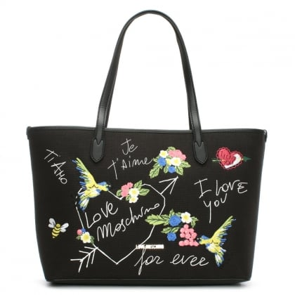 Love Moschino Kuala Black Printed Canvas Tote Bag