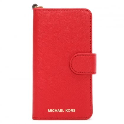 Michael Kors Saffiano Bright Red Leather Folio iPhone 7 Case