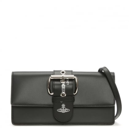 Vivienne Westwood Alex Black Leather Flapover Clutch Bag