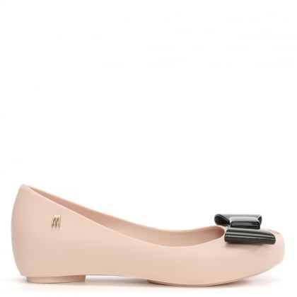 Melissa Kid's Nude Contrasting Bow Ultragirl Alice In Wonderland Ballet Pump
