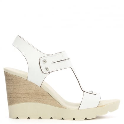 DF By Daniel Peterlee White Leather High Wedge Sandal