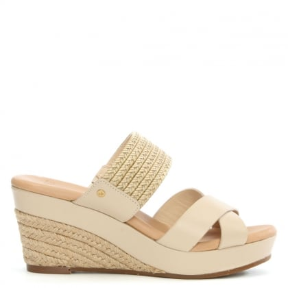 UGG Adriana Horchata Leather Wedge Mule